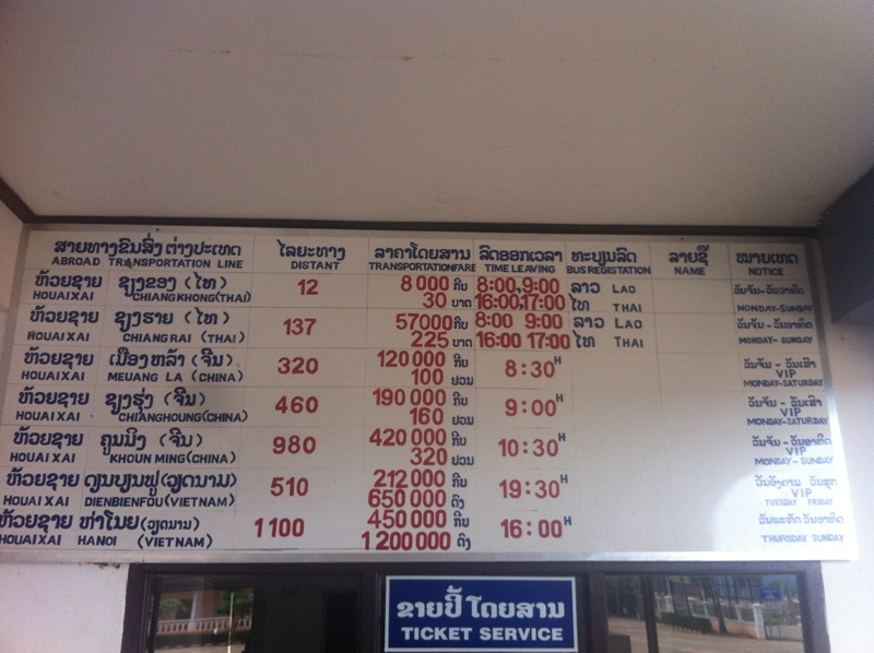 Huay Xai to Chiang Rai Bus Timetable