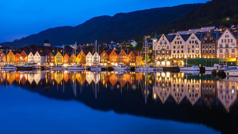 Bergen Bryggen At Night