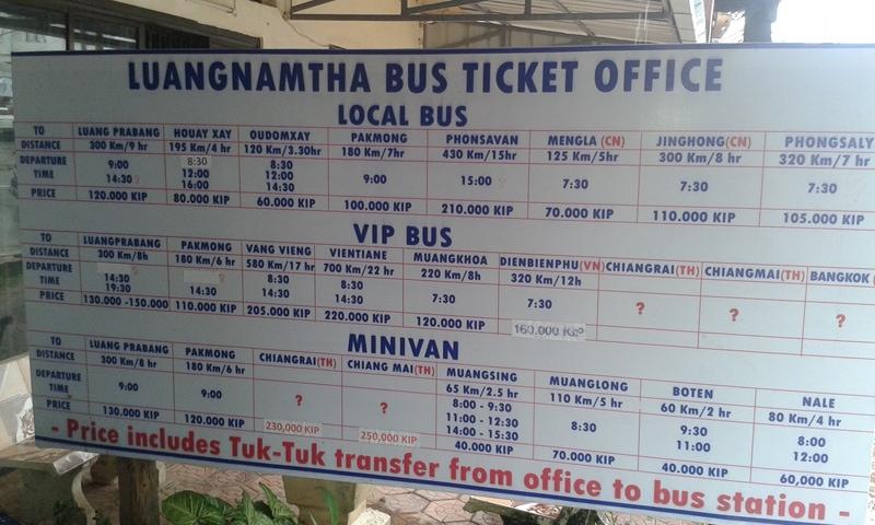 Luang Namtha Bus Timetable